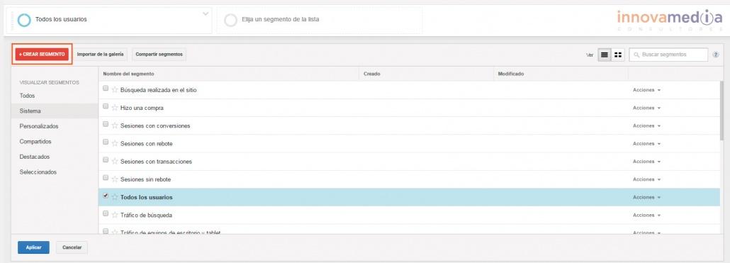 crear segmentos personalizados google analytics